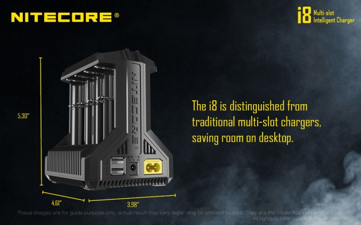 The i8 is distinguished from traditional multi-slot chargers, saving room on desktop.